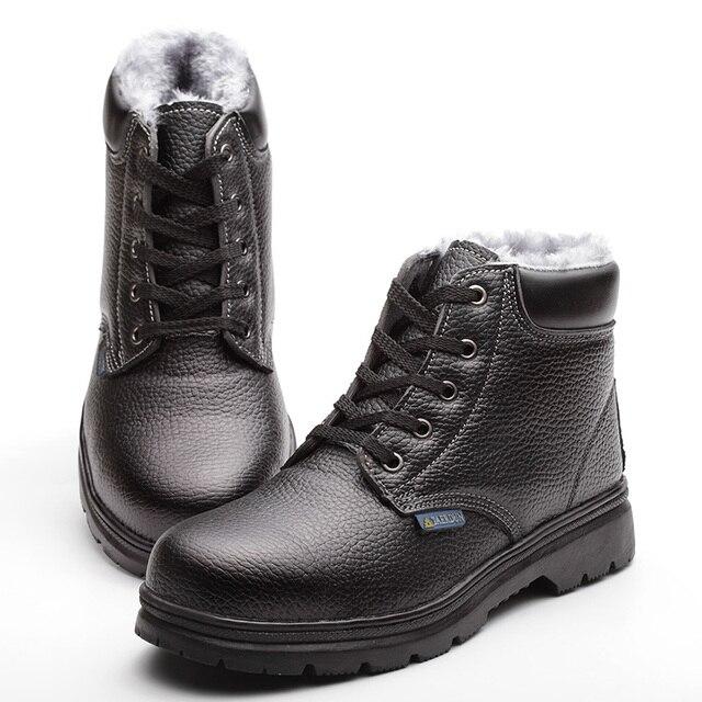 Мода из натуральной кожи зима снег меха ботильоны мужчин стальным носком , безопасности труда женщин большой размер