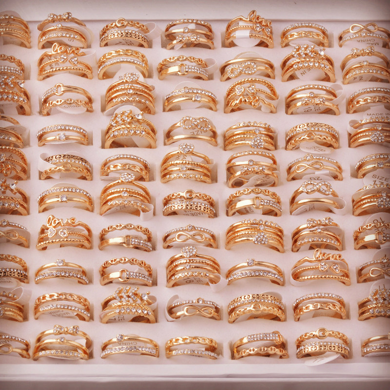 Fashion Wholesale Lots 50Pcs Mixed Style Gold color Alloy Zirconia Open Adjustable Rings for Women Lady