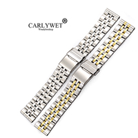 CARLYWET 22 24mm Wholesale Silver Two Tone Gold Stainless Steel REPLACEMENT Wrist Watch Band For AEROSPACE PANERAI Omega