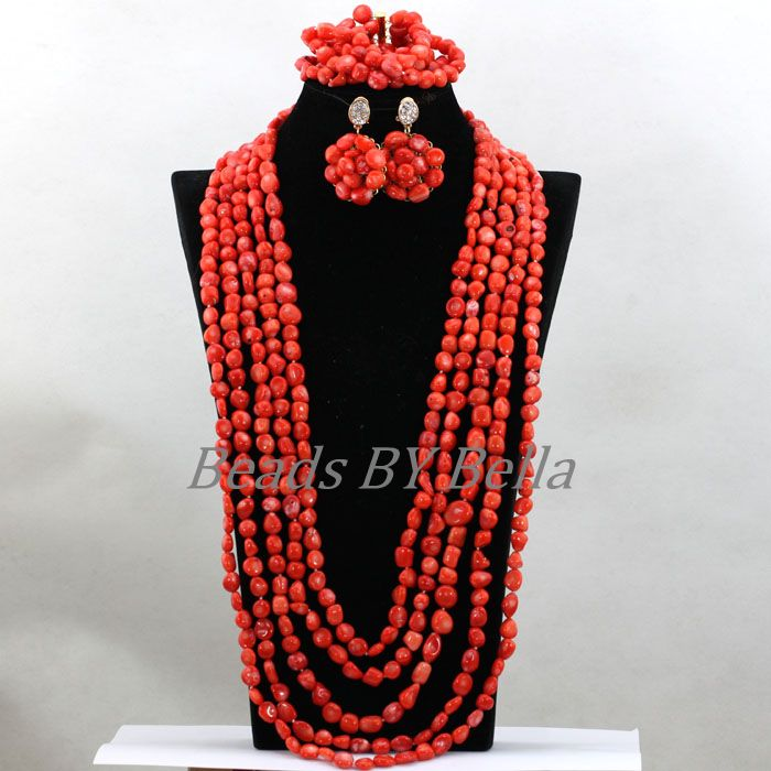 Luxury Long Necklace Bridal Jewelry Sets Nigerian Wedding Beads Necklaces Natural Coral Beads Jewelry Sets Free Shipping ABK778