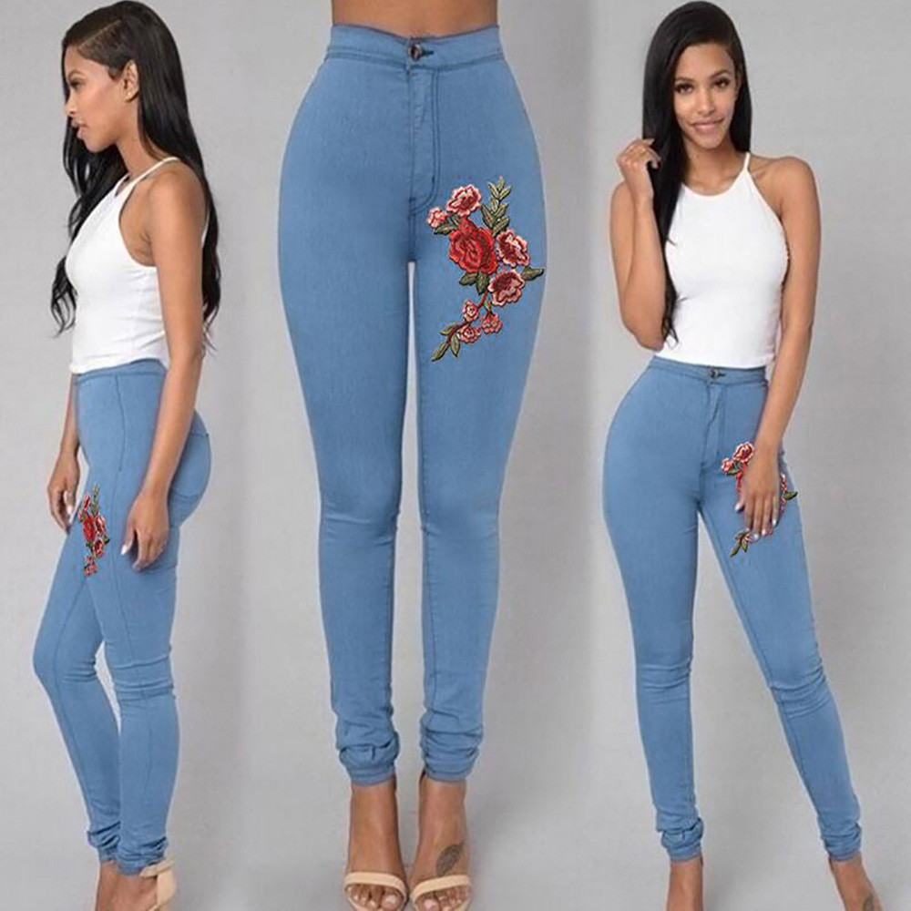 Jeans Woman Fashion Sexy Soft Comfortable Skinny Floral Applique Jeans High Waist Stretch Pencil Pants Women Jeans Mujer 2019