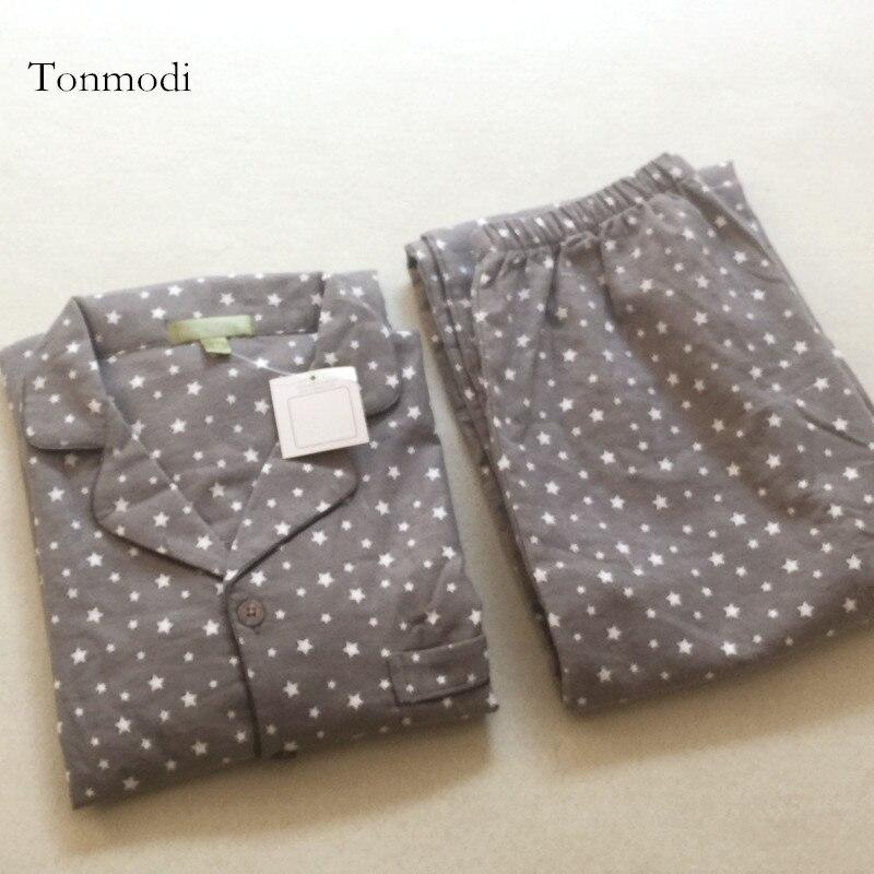 Pajamas Lounge Sleepwear Men Flannelet 100%Cotton For Sanded Cardigan Grey Dots