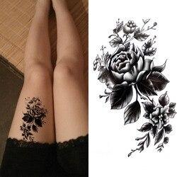 Черный большой цветок водостойкий боди-арт временные сексуальные бедра татуировки Роза для женщин флэш татуировки наклейки 10*20 см KD1050