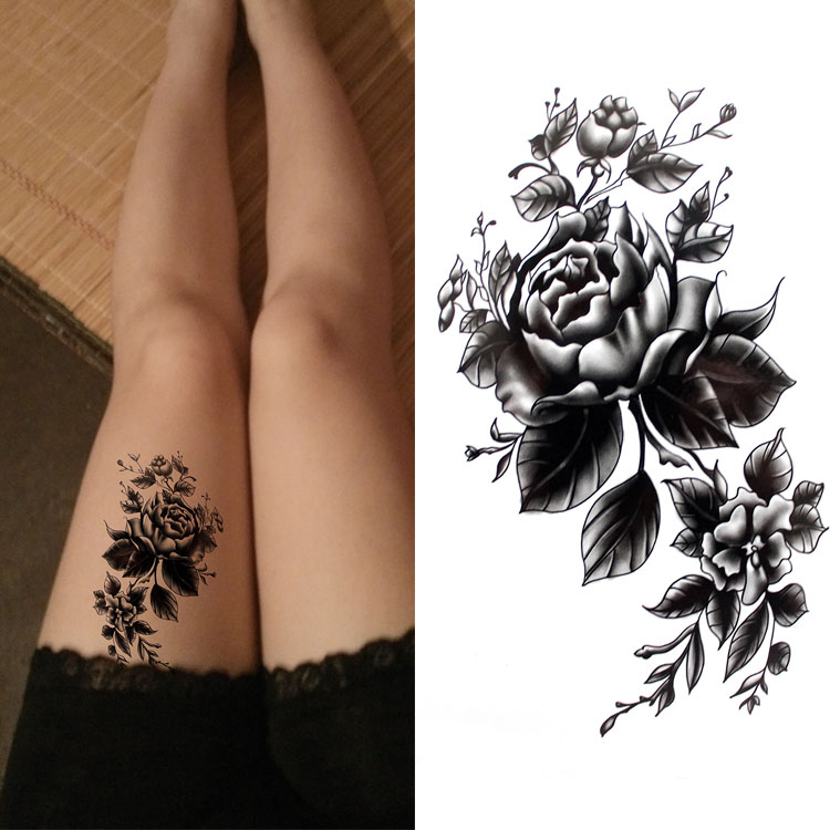 eef46f517 Black big flower Body Art Waterproof Temporary Sexy thigh tattoos rose For  Woman Flash Tattoo Stickers 10*20CM KD1050