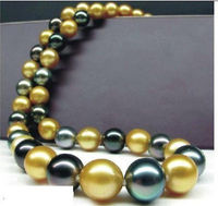 HOT## Wholesale FREE SHIPPING >>> HUGE 1813 15MM NATURAL SOUTH SEA GENUINE GOLD BLACK PERFECT PEARL NECKLACE