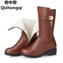 Winter snow boots thick genuine leather mom slope with large 35 43 woman boots motorcycle boots