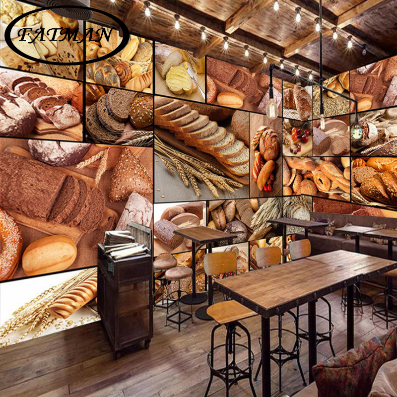 Custom 48D Photo Wallpaper European Style Wallpaper Bread Baking Cafe Custom Bakery Kitchen Design Style