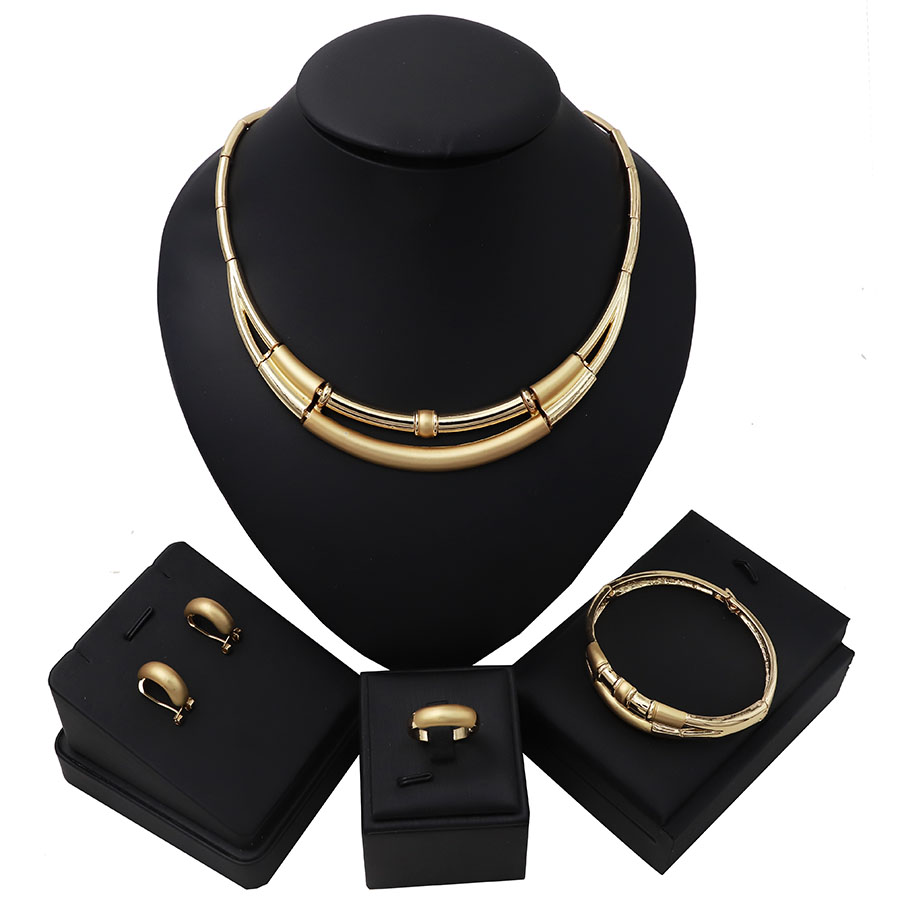 TSROUND Dubai Gold Color Jewelry Set Simple Design Necklace Earrings for women(China)