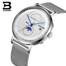 Switzerland Automatic Watch Men BINGER moon phase Mechanical Men Watches Full Steel Relogio Masculino Waterproof reloj montre switzerland binger brand men automatic mechanical watches luminous waterproof full steel belt energy display male fashion watch