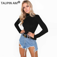 TAUPIN AM Sexy Bodysuit Women Autumn Body Suit Mock Neck Long Sleeve Bodysuit Black Party Bodysuit