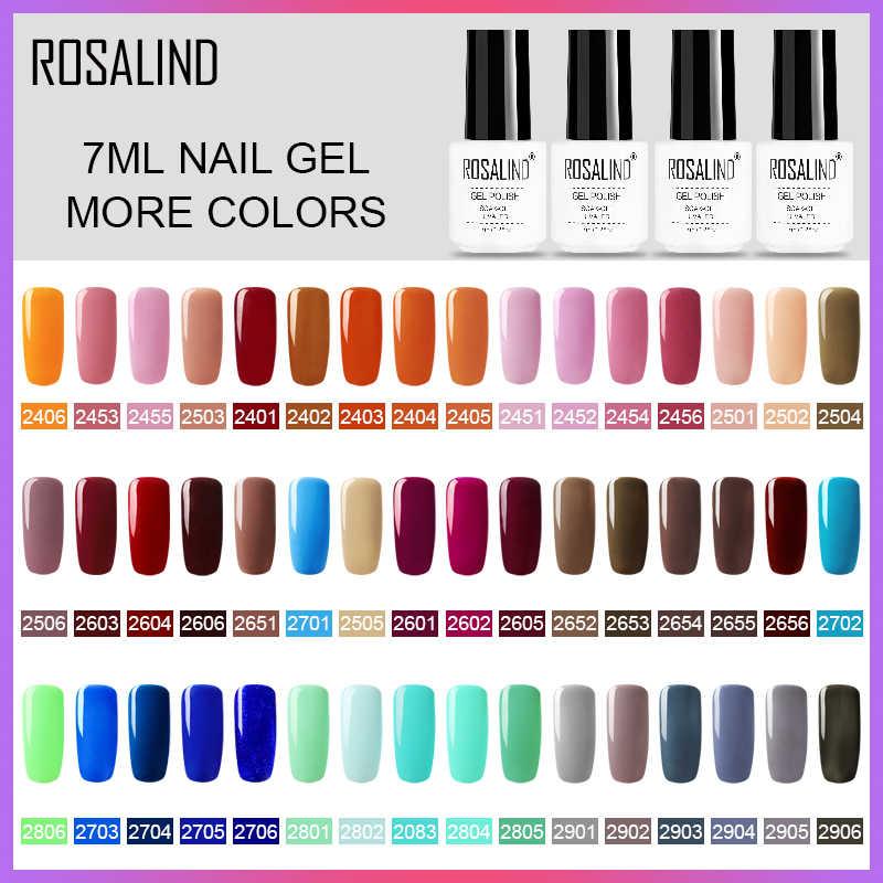 ROSALIND 7ML เจลสีบริสุทธิ์เคลือบ gellak กึ่งถาวร UV เล็บเจลเล็บชุดโปแลนด์สำหรับเล็บ PRIME เล็บ Art การออกแบบ HYBRID
