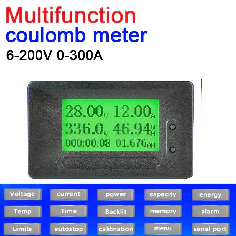 Serio 2019 Dc 200 V 300a Coulomb Meter 12864 Display A Cristalli Liquidi Digital Volt Amp Meter Tensione Corrente Capacità Di Potenza Di Energia Temp Tempo Di Allarme Modelli Alla Moda