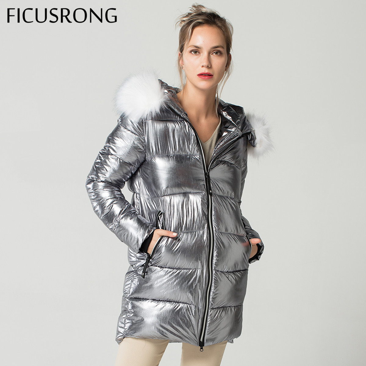 Elegant White Fur Collar Coat Winter Jacket Women Long Down   Parkas   Female Warm Hooded Jacket Coat Silver Gray 2018 New FICUSRONG