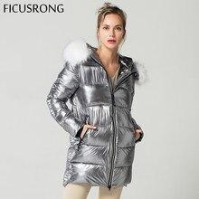 Элегантный белый мех Куртка с воротником зимняя куртка Для женщин Длинная Парка женская теплая куртка с капюшоном пальто серебристо-серый 2018 Новый FICUSRONG