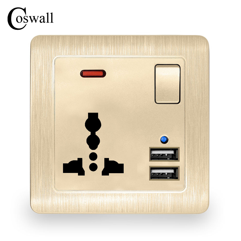 Cheap Sale Coswall Wall Power Socket 13a Universal 3 Hole Switched Outlet 2.1a Dual Usb Charger Port Led Indicator Gold Special Summer Sale Electrical Equipments & Supplies Electrical Sockets & Accessories