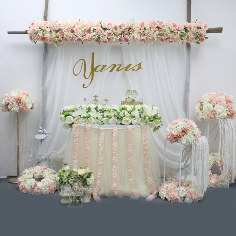 Image 4 - 2pcs/lot 1M Road cited artificial flowers row wedding decor flower wall arched door shop Flower Row Window T station  Christmas-in Artificial & Dried Flowers from Home & Garden