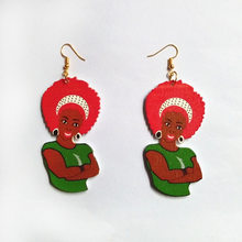 Unique Design Vintage Printed Wood African Beauty Woman Portrait Hook Drop Earrings Afro Hair Girl Lady Dangle Earrings EH380(China)