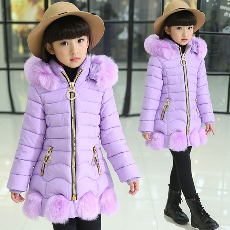 -30 2016 Winter girls long down cotton jacket childrens brand design thick warm coats for kids outdoor casual sports outerwear