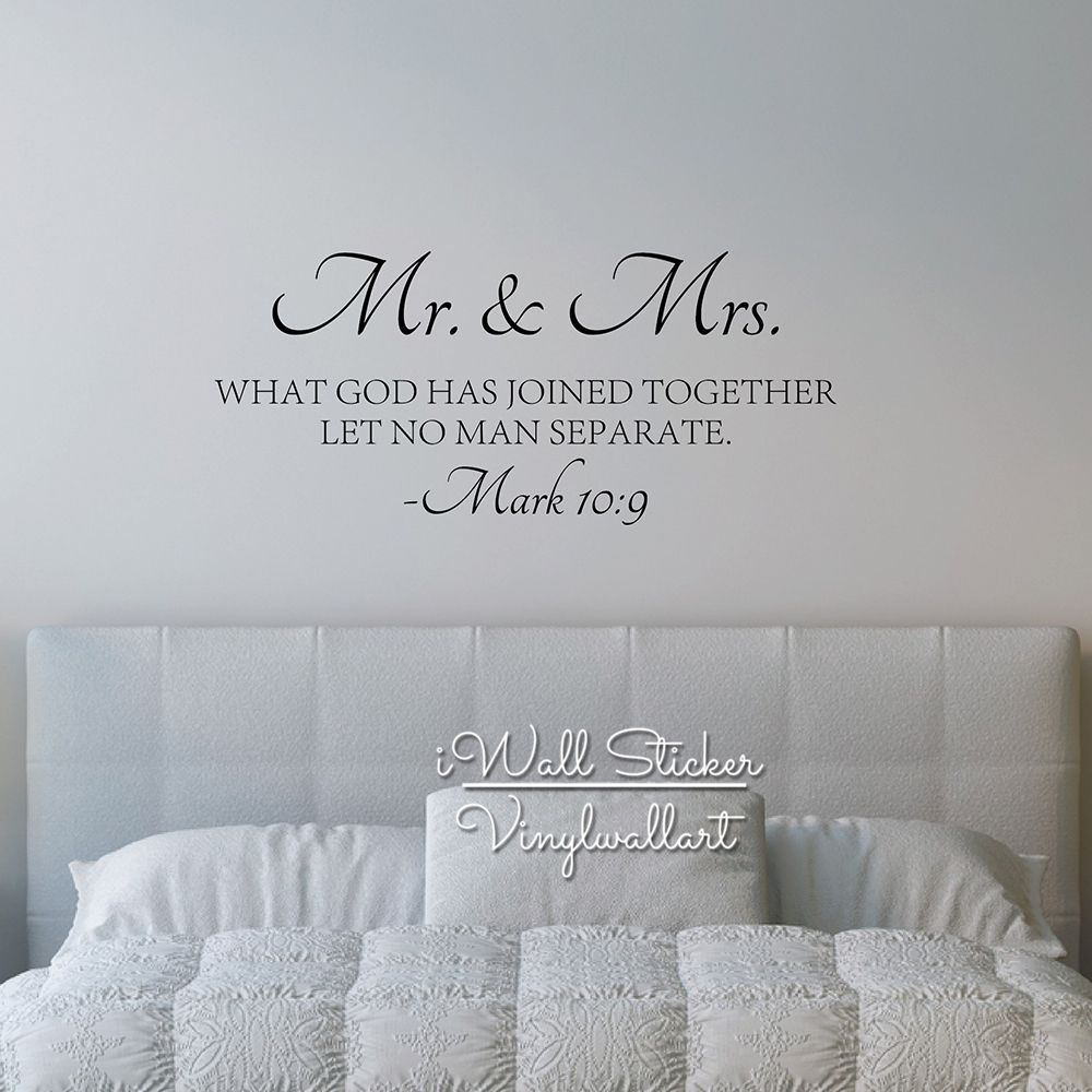 Vinyl Love Quotes Best Mr & Mrs Quote Wall Sticker Bible Love Quotes Wall Decal High