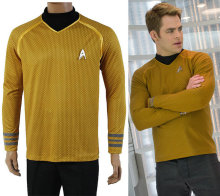 Movie Star Trek Costumes Cosplay Star Trek Captain Kirk Gold Adult Men Cosplay Costumes For Halloween