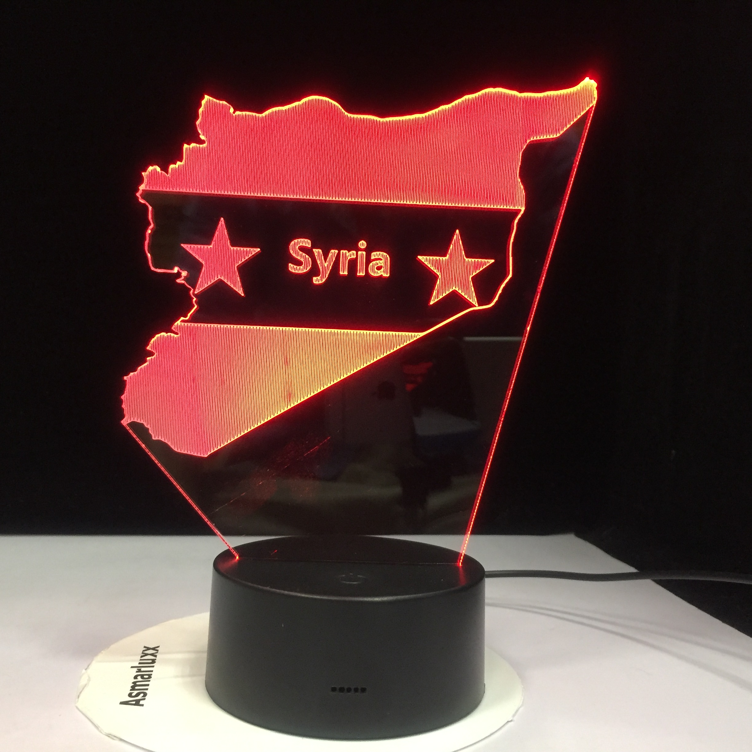 Syria Map 3D LED Night Lights Bedside Sleep Light Fixture Gifts 7 Colors Changing USB Bedroom Decor Shape Table Lamp