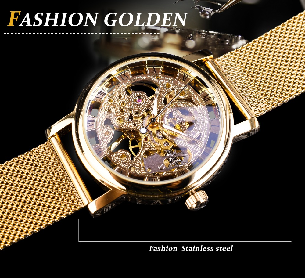 Winner Thin Case Full Golden Design Retro Openwork Clock Mesh Band Men's Mechanical Watches Top Brand Luxury Luminous Hands