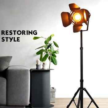 E27 LED retro tripod single head floor lamp black wrought iron retro floor lamp for dining room bedroom living room study cafe - DISCOUNT ITEM  29% OFF All Category