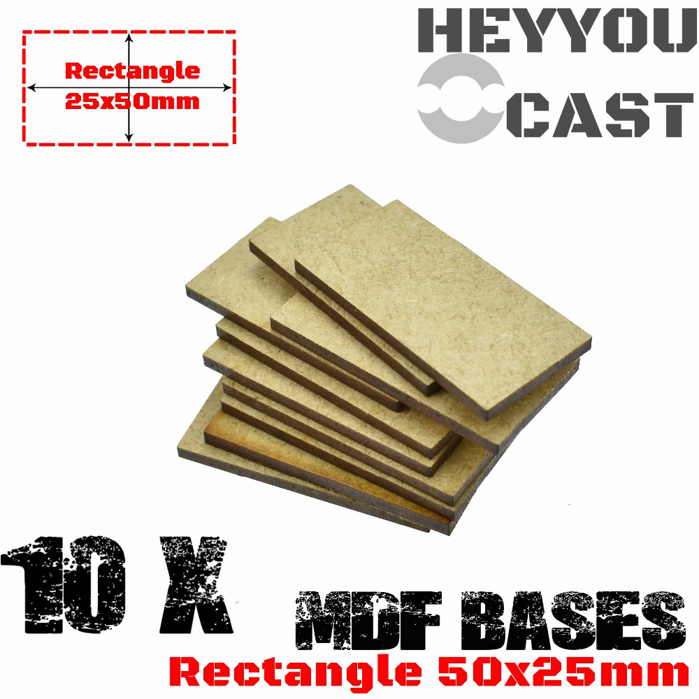 10x MDF Bases - Rectangle 25x50mm - Basing Laser Cut Wargames Wood
