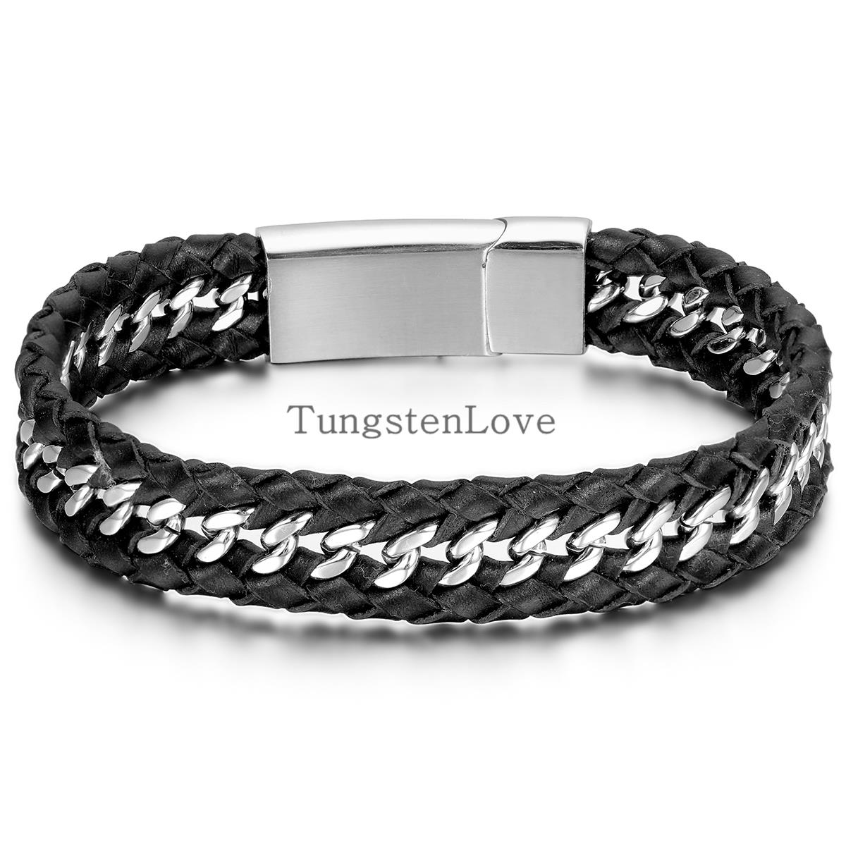 22 1 2cm Fashion Men Jewelry Punk Style Mens Genuine Leather Stainless Steel Bracelet Wheat Wide Cuff Bangle Black Silver In Bracelets From