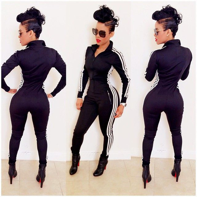 39ed46a3126 New Rompers Jumpsuits Spring Summer Tracksuits Fashion Casual Women One  Piece Tracksuit Long Sleeve Strip Side Jumpsuits