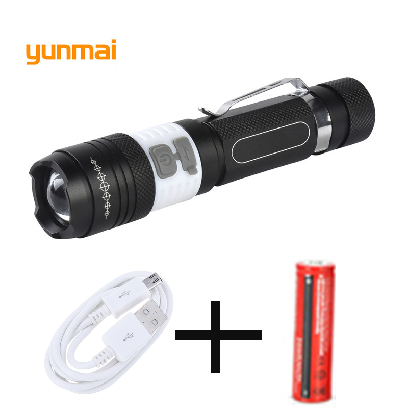 COB USB LED Flashlight 18650 Zoom Torch Waterproof Flashlights XM-L T6 3800LM 3 Mode Led Zoomable Light for Hunting Camping