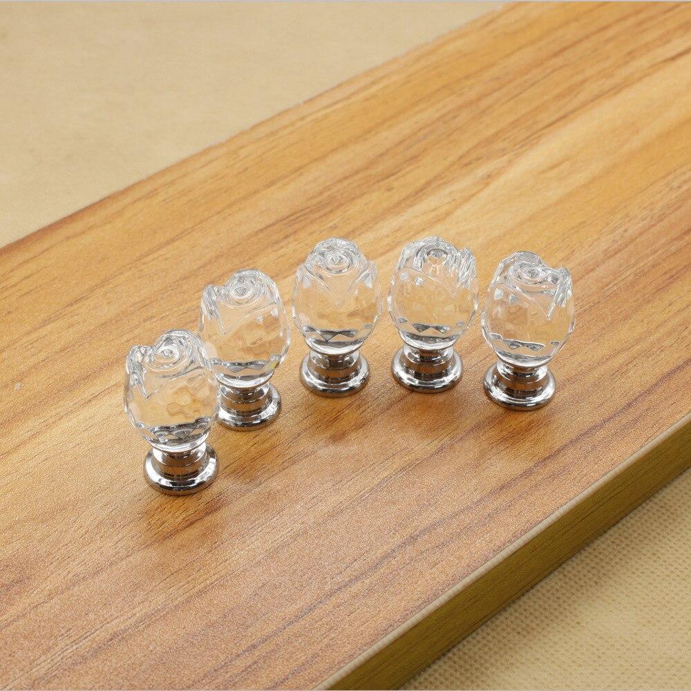 ᗚ10 unids 20mm clear K9 Crystal Rose flor Muebles Manijas cocina ...