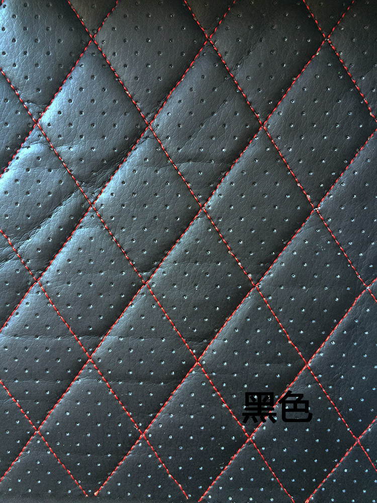Sponge Fabric Furniture Pu Leather Perforated Embroidered Plaid Fabric Car Interior Roof Fabric