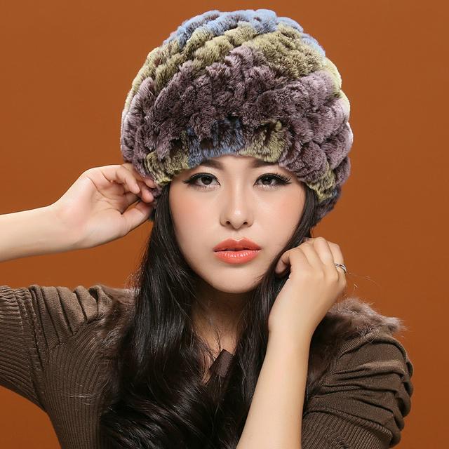 Marea de invierno cálido sombrero de Lana de las mujeres de piel de conejo Rex pelo sombrero de Doble capa de protección del casquillo del oído