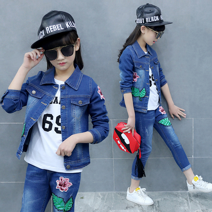 Spring Autumn Fashion Clothing Kids Cowboy Suit Children Girls Sports Denim Clothes Set Girls Print Denim Jacket + Pants children s clothing spring high quality cowboy three piece suit of the girls flowers fashion baby suit denim set for infants