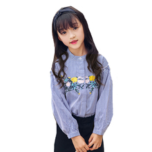 Student Embroidered Blouses For Girls Clothing Children Outerwear Cotton Striped Shirts For Kid Tops Long Sleeve School Uniforms