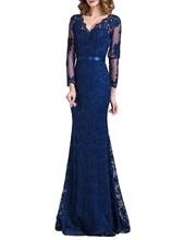 Mode Navy Spitze Formales Kleid 2016 Meerjungfrau Voll Sleeves Lange Kleid Sexy V-ausschnitt Abendkleider Nach Maß Robe De Soiree