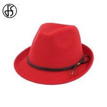 dba18253cd FS Inverno Vermelho Chapéus de Algodão Chapéu de Aba Larga Fedora Top Para  Os Homens Do Vintage Senhoras Elegantes Cap Real Com .