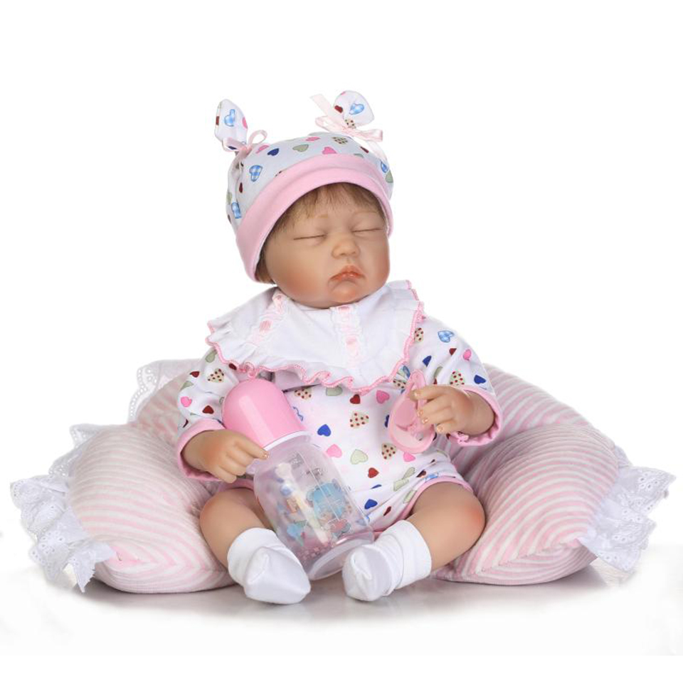 New Design Asleep 16'' Baby Dolls Soft Silicone Handmade Lifelike Reborn Baby Doll Toys With Pillow Child Xmas Birthday Gifts new arrival 55cm blue eyes pink clothes lifelike baby soft girl doll with free plush toy as kids xmas gifts birthday doll toys