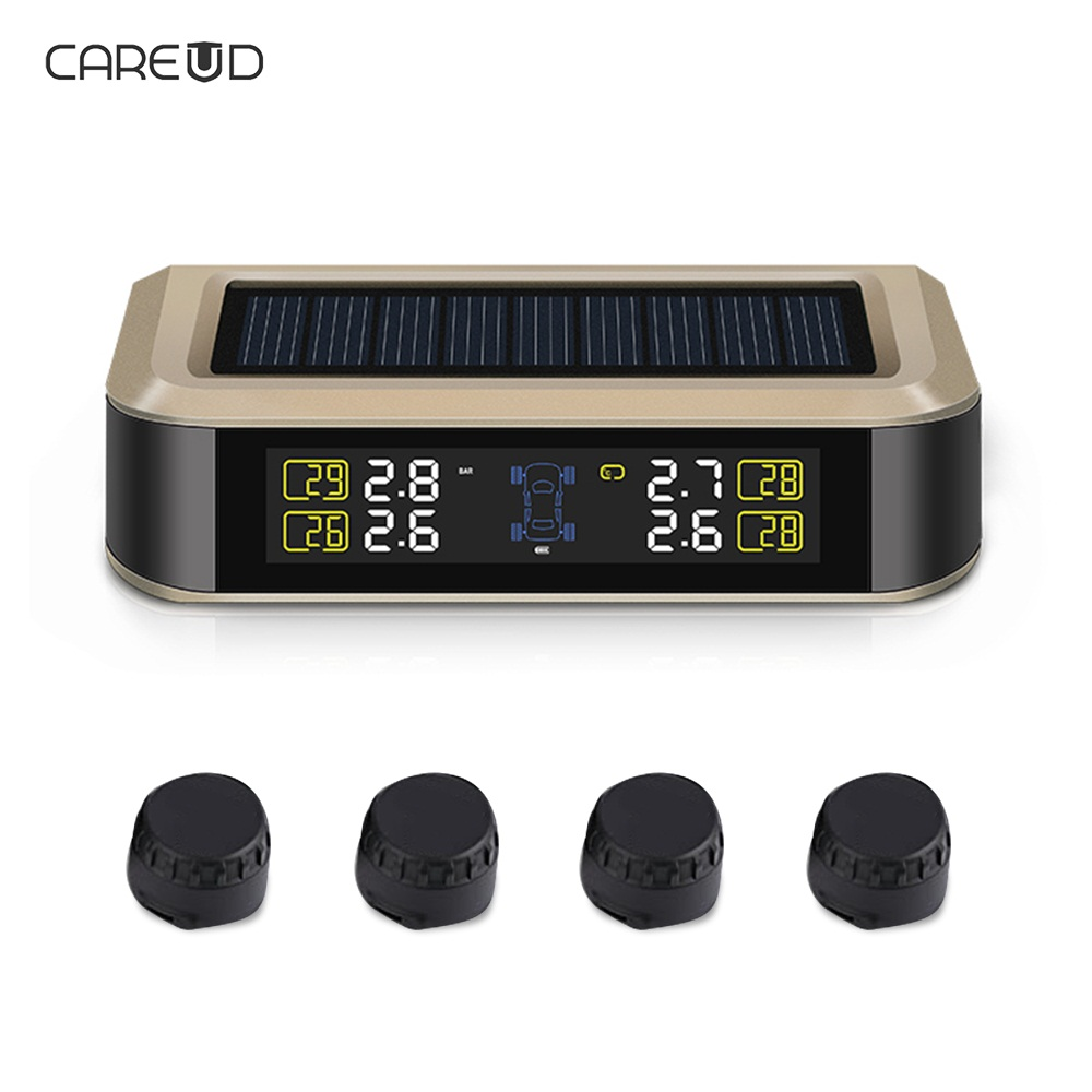 CAREUD TPMS LCD Display Car Wireless Tire Tyre Pressure Monitoring System Solar Power 4 External/Internal Sensors careud u903 wf tpms wireless tire pressure monitor with 4 external sensors