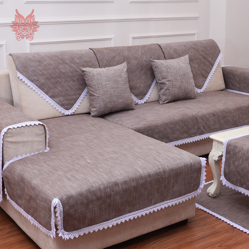 Camel sofa cover lace decor cotton linen slipcovers canape Anti slip ...