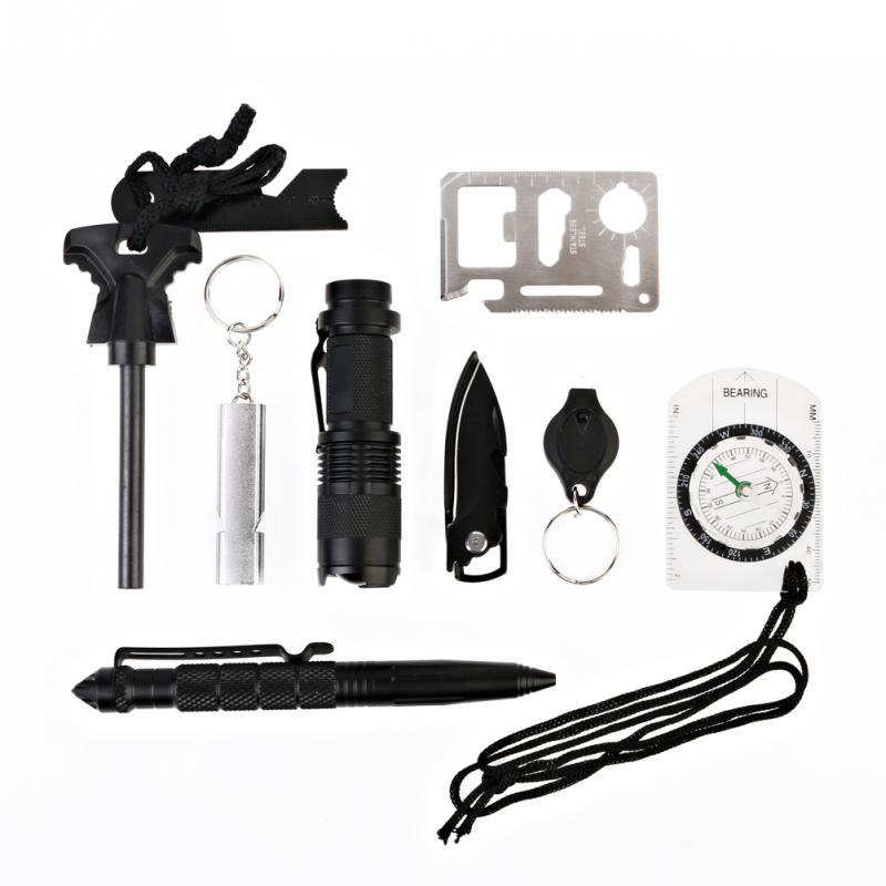 9 in 1 Outdoor Camping Travel Survival Set Multifunction First-aid SOS Emergency Supplies Tactical Pen+Compass+Foldind Knife