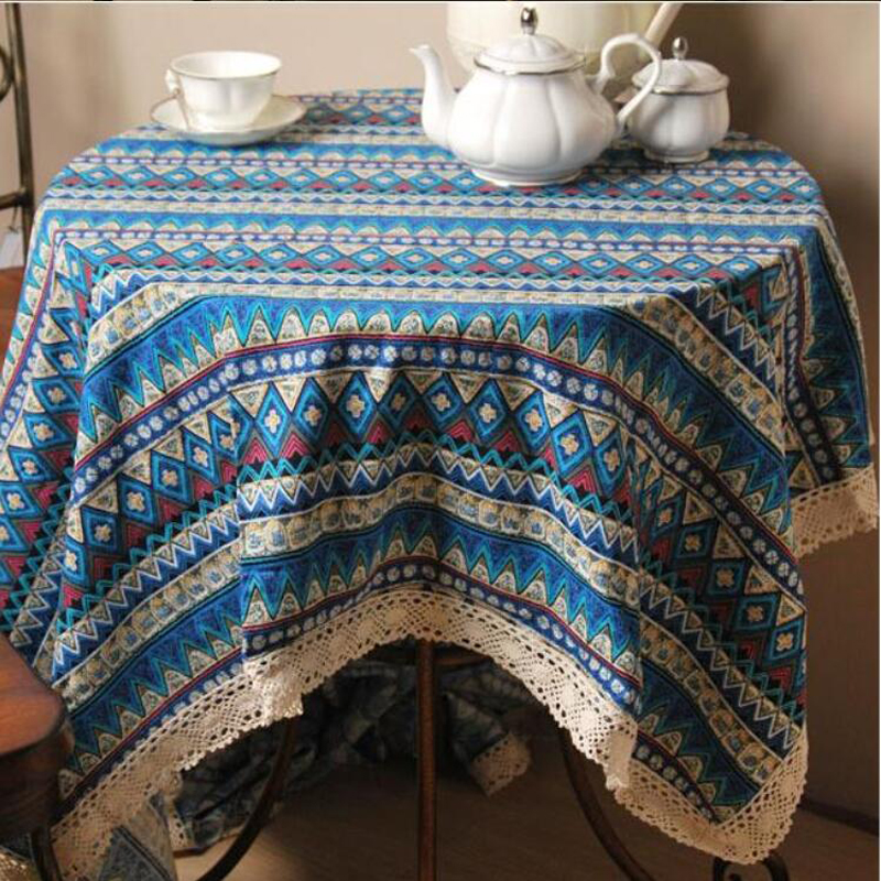 Vintage Lace Embroidered Tablecloth Striped Printing Tablecloths Blue Red Rectangular Table Cloth Wedding Bohemian