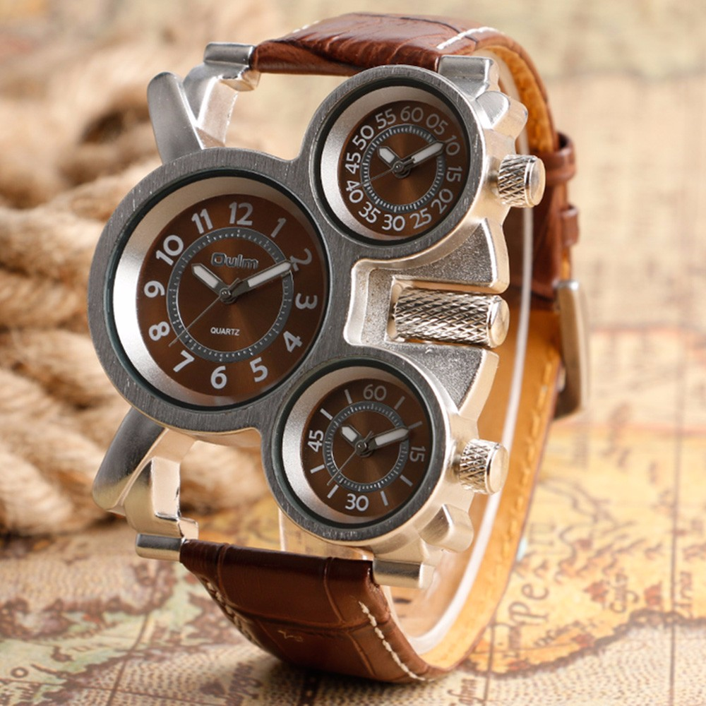 Unique Watches for Men Three Time Zone Large Big Size Irregular Dial Real Leather Strap Military Men's Wristwatches Male Clock 12