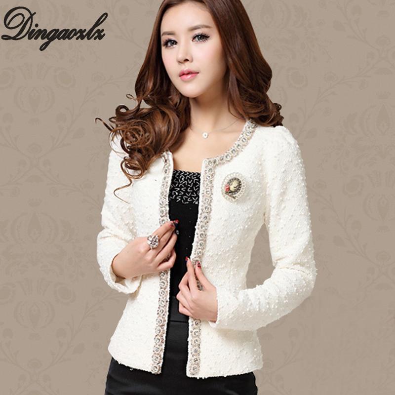 Dingaozlz Design de toamnă-iarna scurtă Design Femei Outerwear Elegant Beaded Diamond Slim Mânecă lungă Plus mărime Jachetă mică M-XXXL