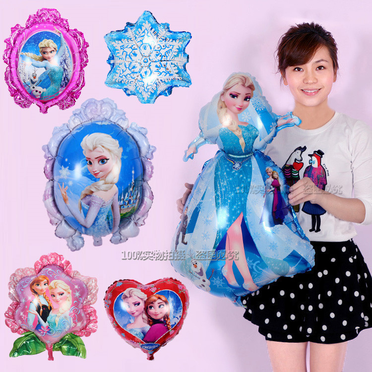 5pcs/lot princess Elsa Anna cartoon foil balloons princess Magic mirror happy bi