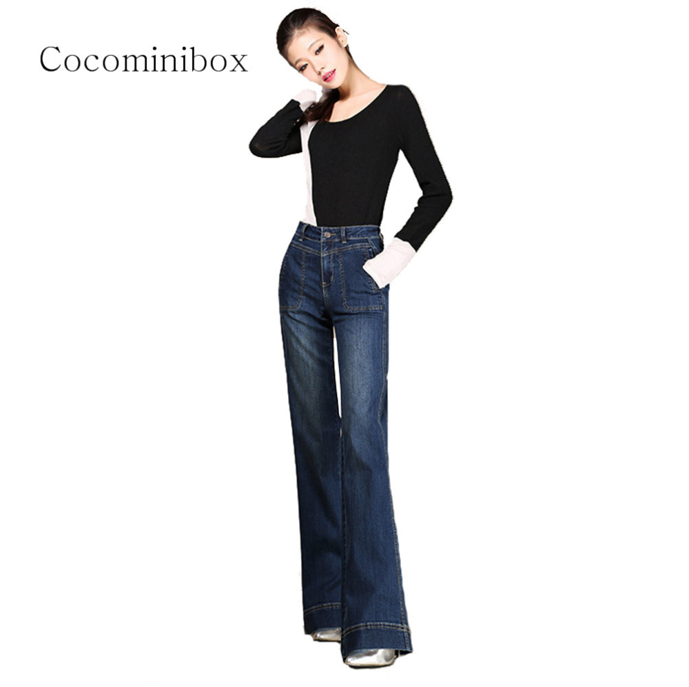 730103adcfd Women Classic Elastic Relaxed Fit Straight Flare Pants Regular Retro Office  Bootcut Jeans Plus Size