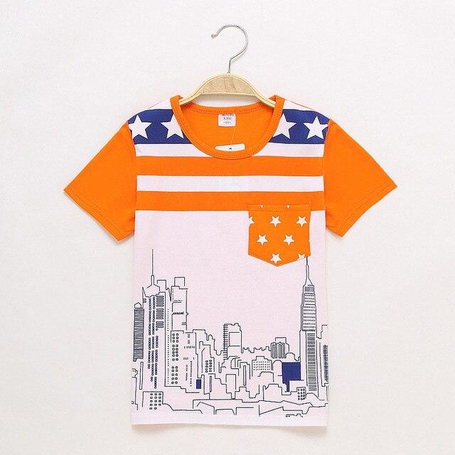 fdd737f85ae95 Большие Скидки Детские футболки детская одежда для мальчиков и девочек  детская футболка летние полосатые Город печати