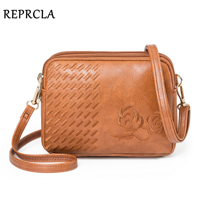 REPRCLA New Three Compartments Crossbody Bags For Women Fashion Small Shoulder Bag Embroidery Ladies Handbags Designer Purse