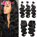 Malaysian Virgin Hair With Closure Grade 8A Malaysian Human Hair 3/4 Bundles With Closure CGG Malaysian Body Wave With Closure